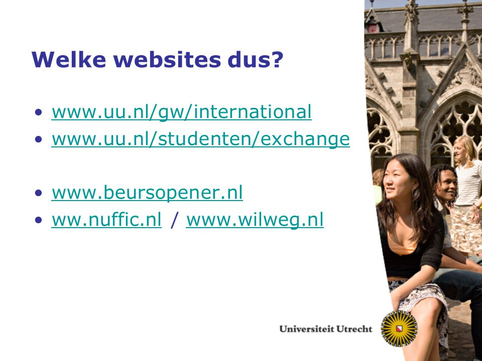 Welke websites dus www.uu.nl/gw/international