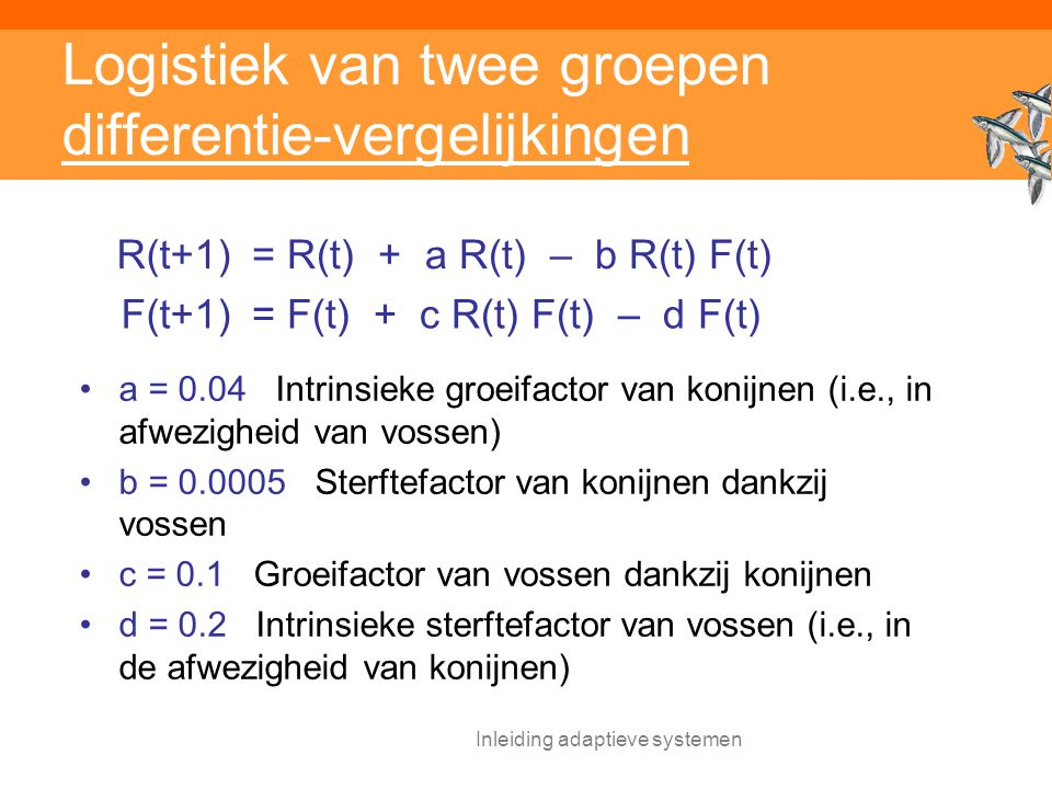 Logistiek van twee groepen differentie-vergelijkingen