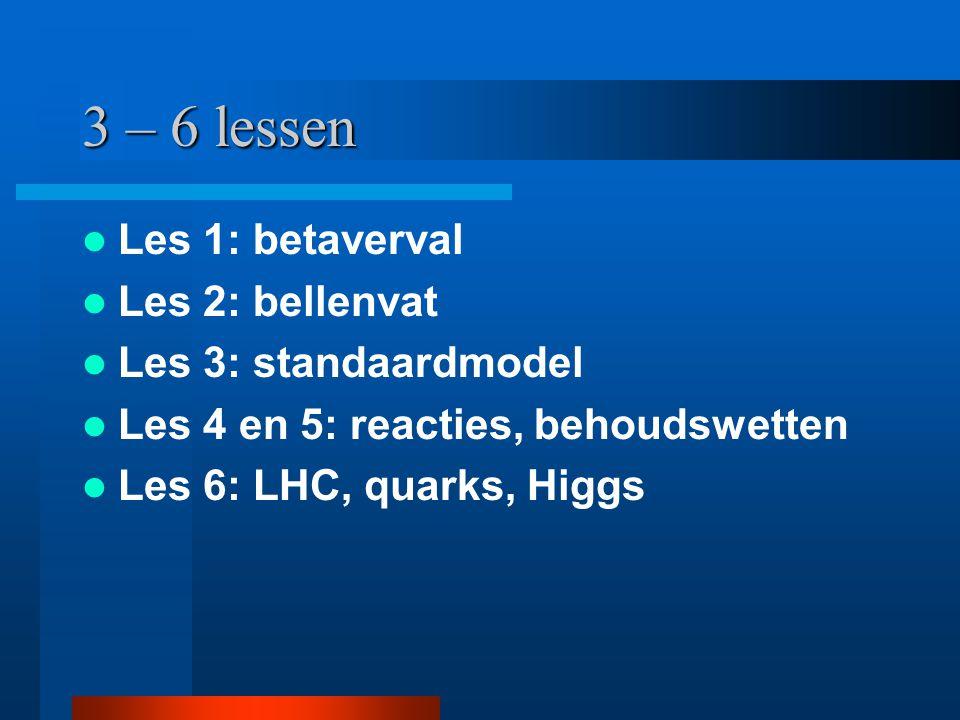 3 – 6 lessen Les 1: betaverval Les 2: bellenvat Les 3: standaardmodel