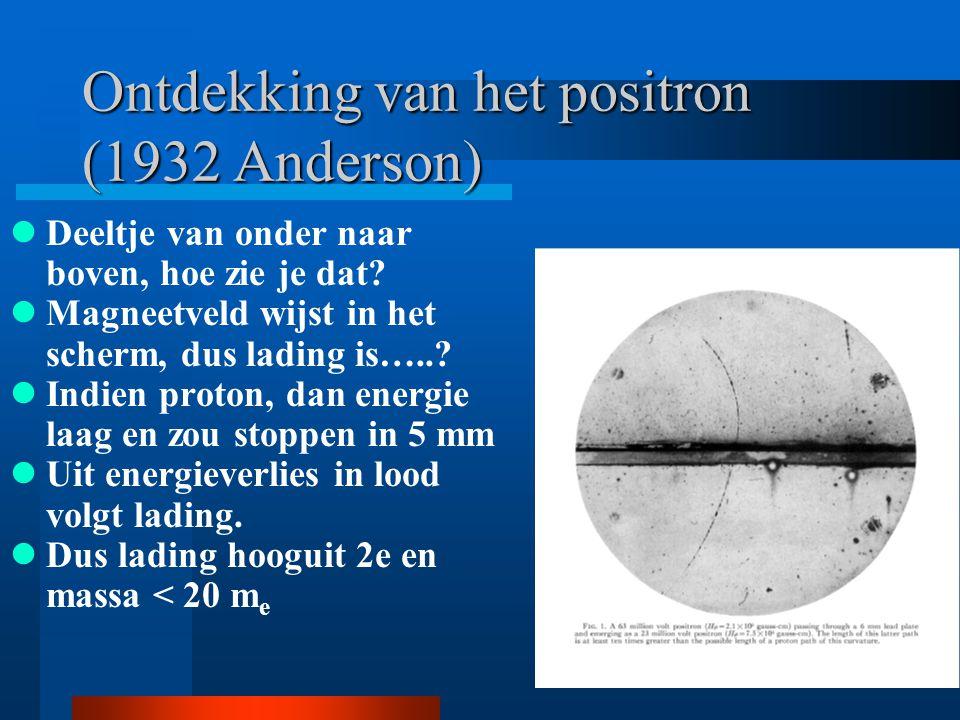 Ontdekking van het positron (1932 Anderson)