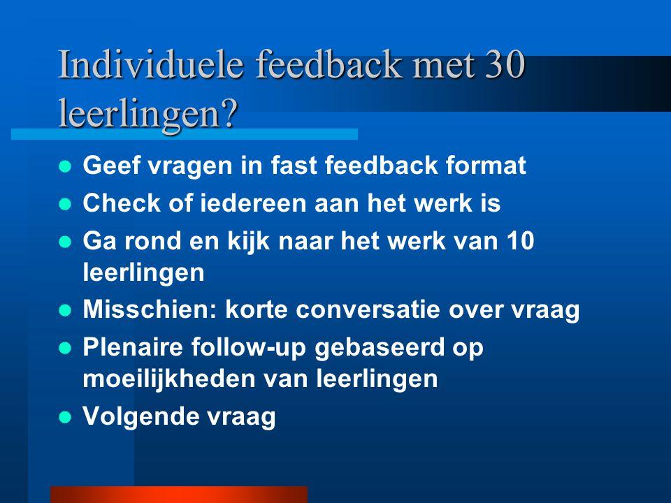 Individuele feedback met 30 leerlingen