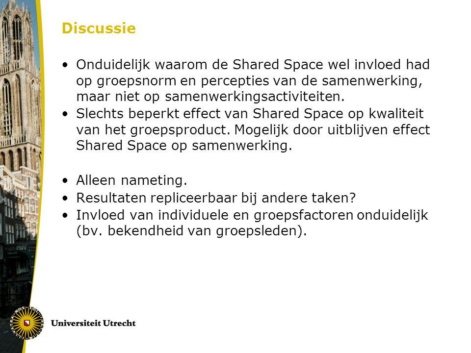 Discussie Onduidelijk waarom de Shared Space wel invloed had op groepsnorm en percepties van de samenwerking, maar niet op samenwerkingsactiviteiten.