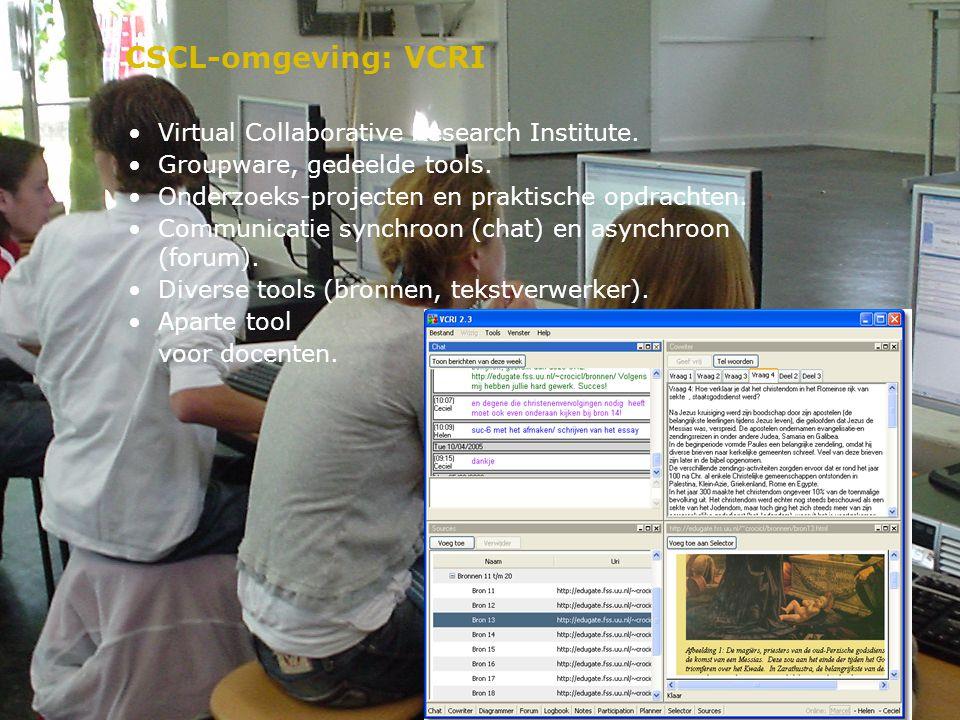 CSCL-omgeving: VCRI Virtual Collaborative Research Institute.