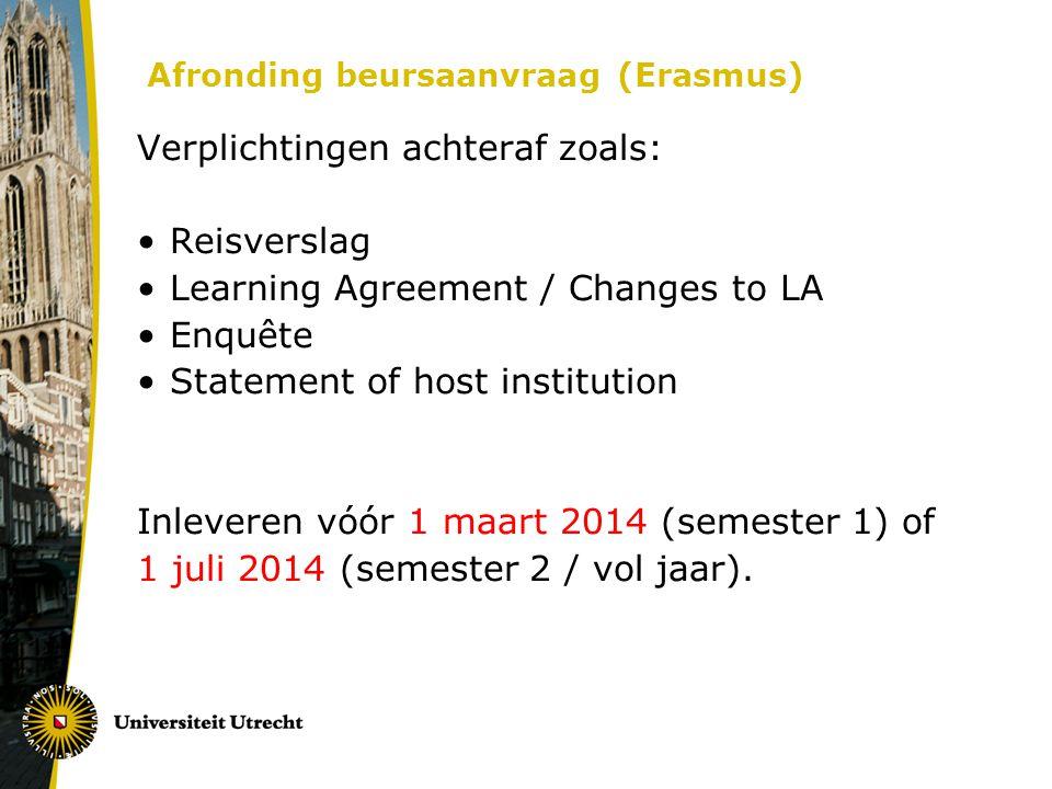 Afronding beursaanvraag (Erasmus)
