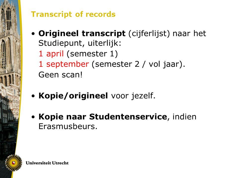 Origineel transcript (cijferlijst) naar het Studiepunt, uiterlijk: