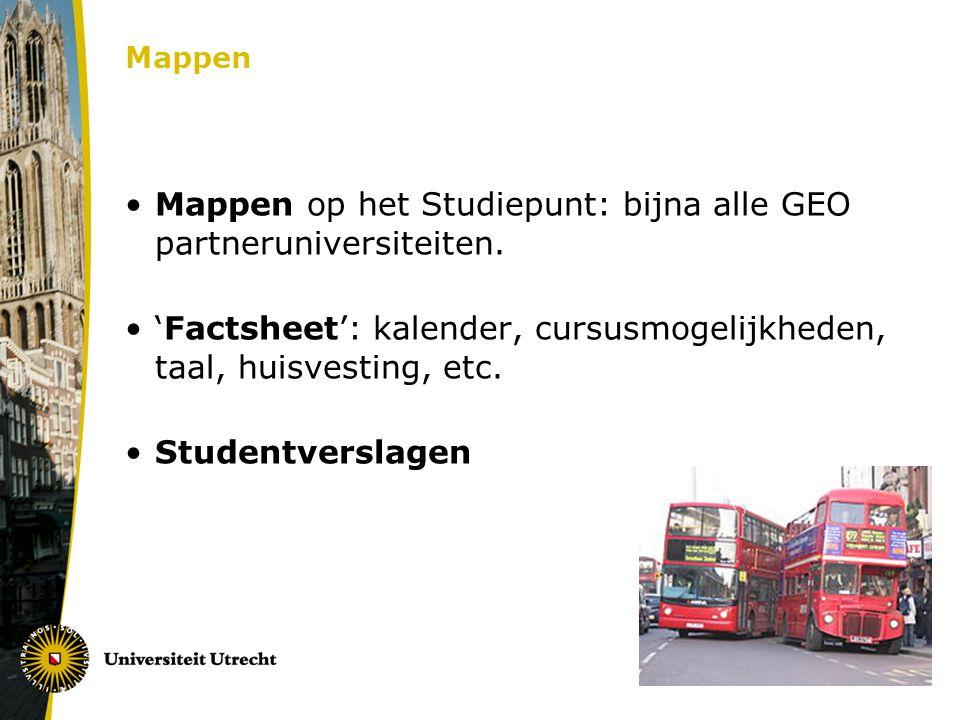 Mappen op het Studiepunt: bijna alle GEO partneruniversiteiten.