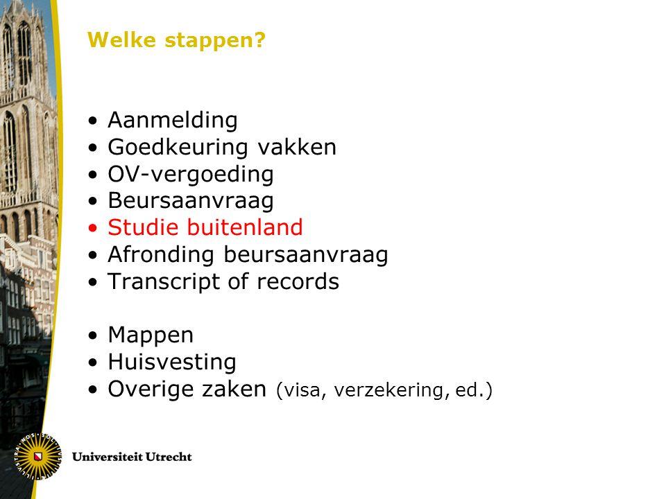 Afronding beursaanvraag Transcript of records Mappen Huisvesting