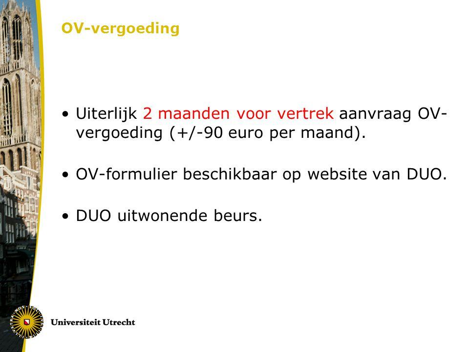 OV-formulier beschikbaar op website van DUO. DUO uitwonende beurs.