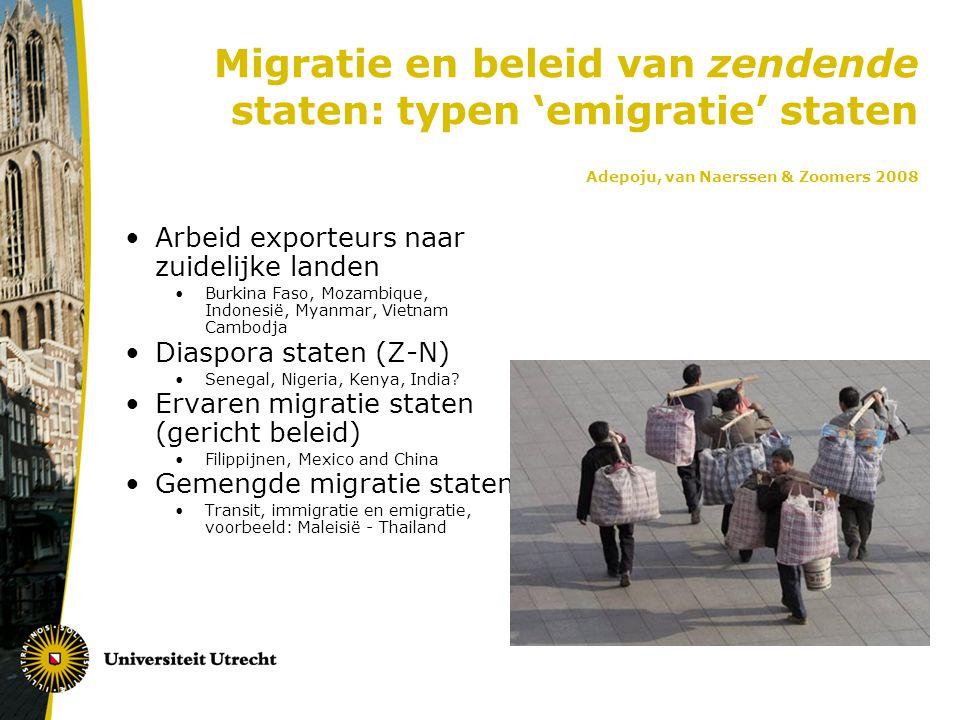 Migratie en beleid van zendende staten: typen 'emigratie' staten Adepoju, van Naerssen & Zoomers 2008