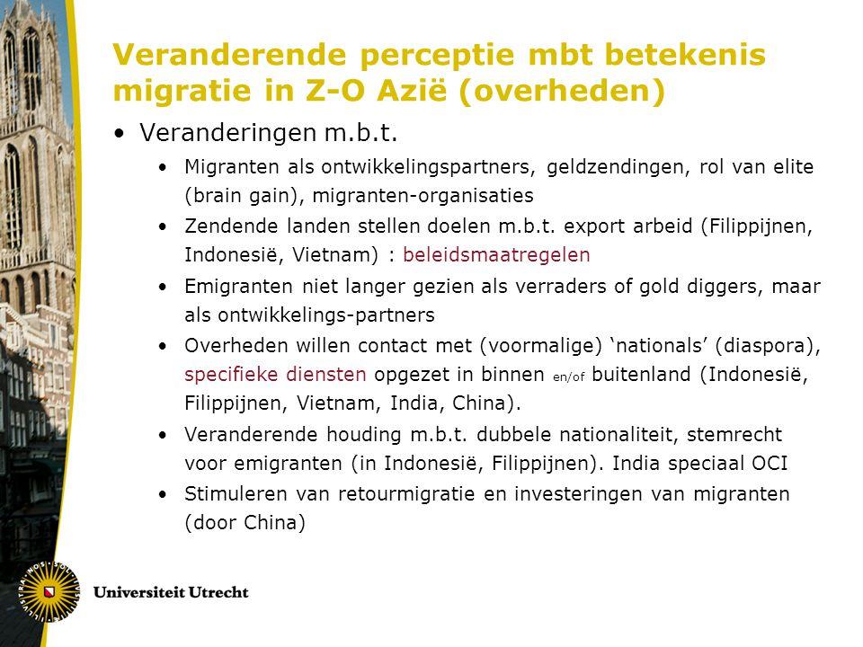 Veranderende perceptie mbt betekenis migratie in Z-O Azië (overheden)