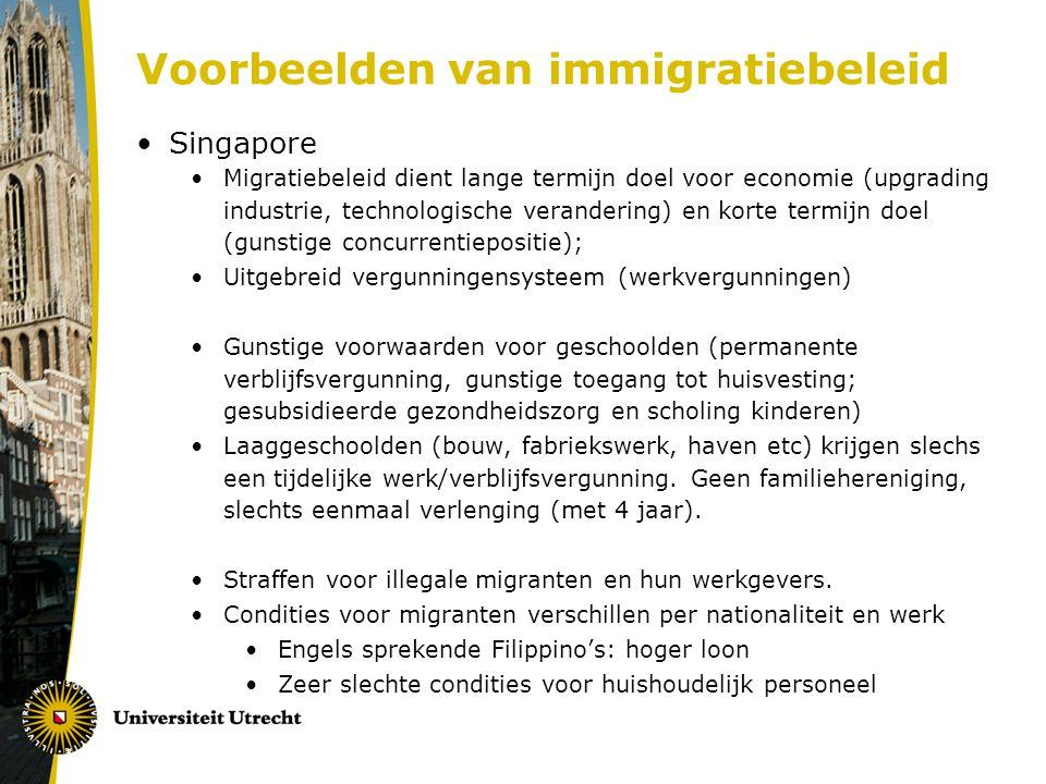 Voorbeelden van immigratiebeleid