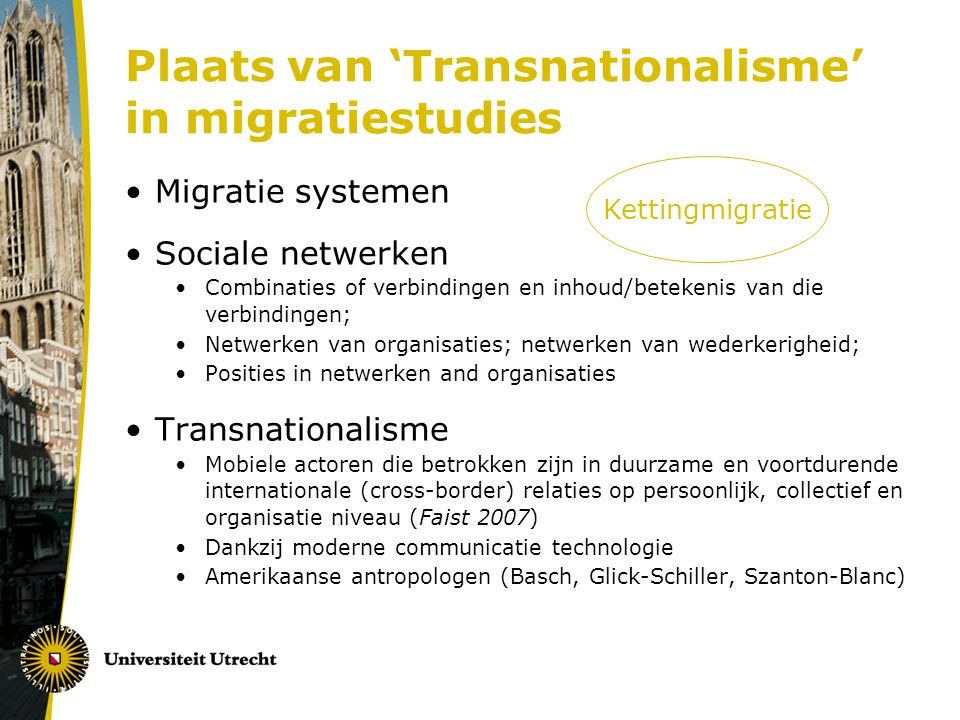 Plaats van 'Transnationalisme' in migratiestudies