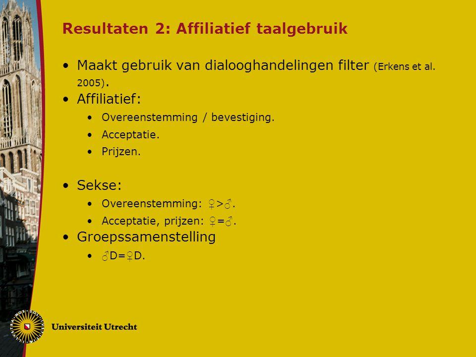 Resultaten 2: Affiliatief taalgebruik