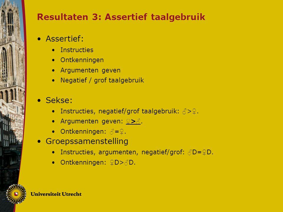 Resultaten 3: Assertief taalgebruik