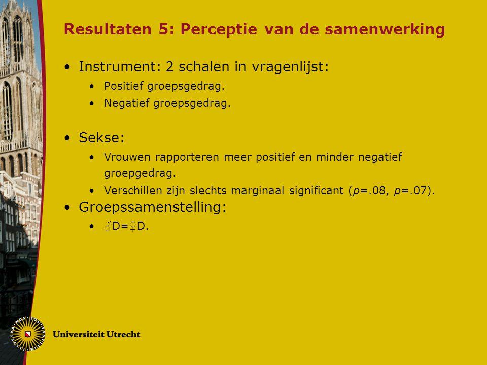 Resultaten 5: Perceptie van de samenwerking