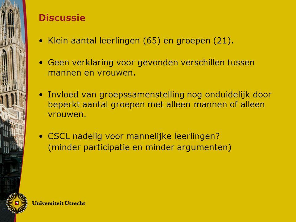 Discussie Klein aantal leerlingen (65) en groepen (21).