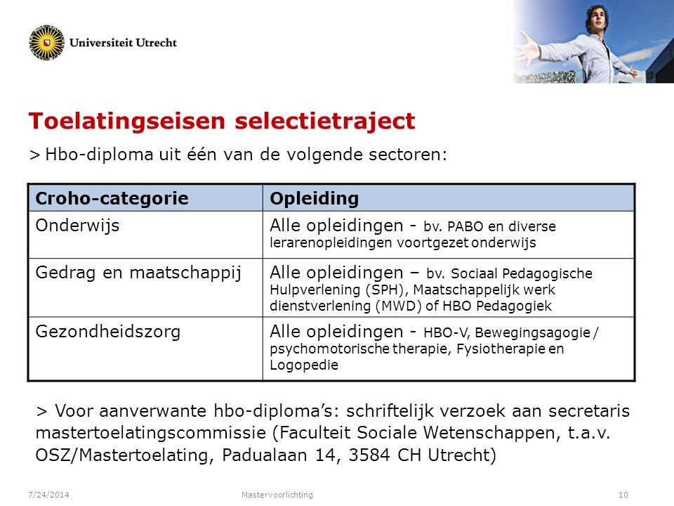 Toelatingseisen selectietraject > Hbo-diploma uit één van de volgende sectoren: