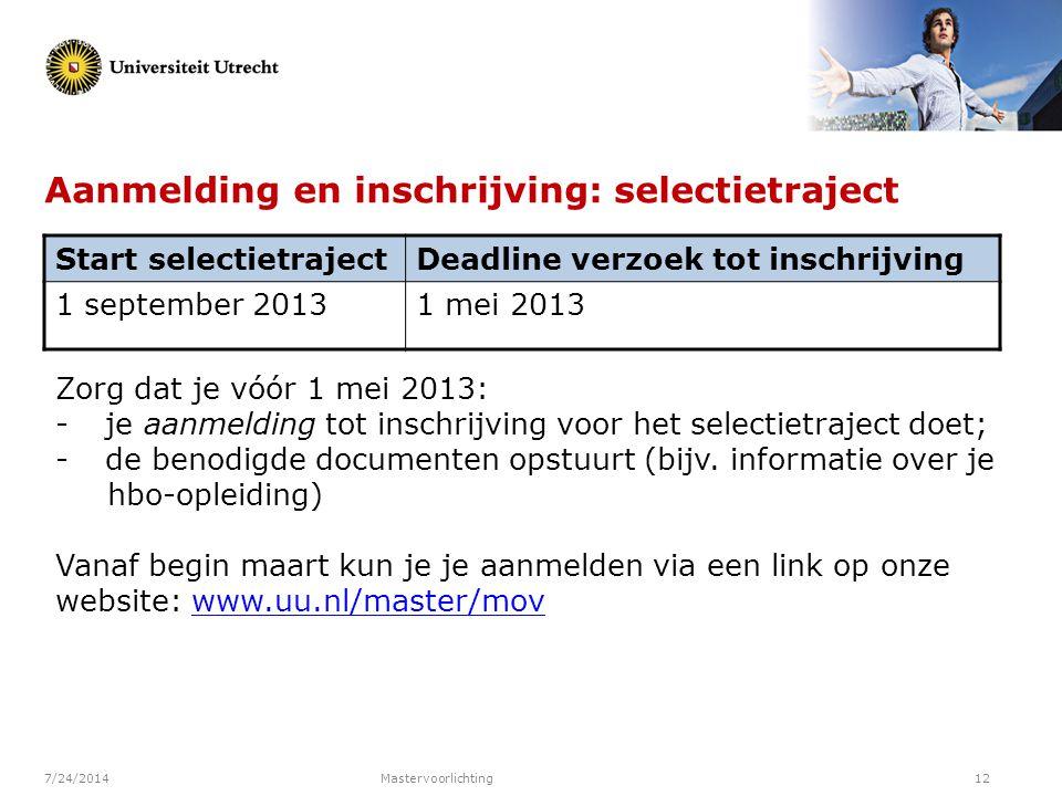 Aanmelding en inschrijving: selectietraject