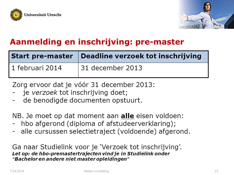 Aanmelding en inschrijving: pre-master