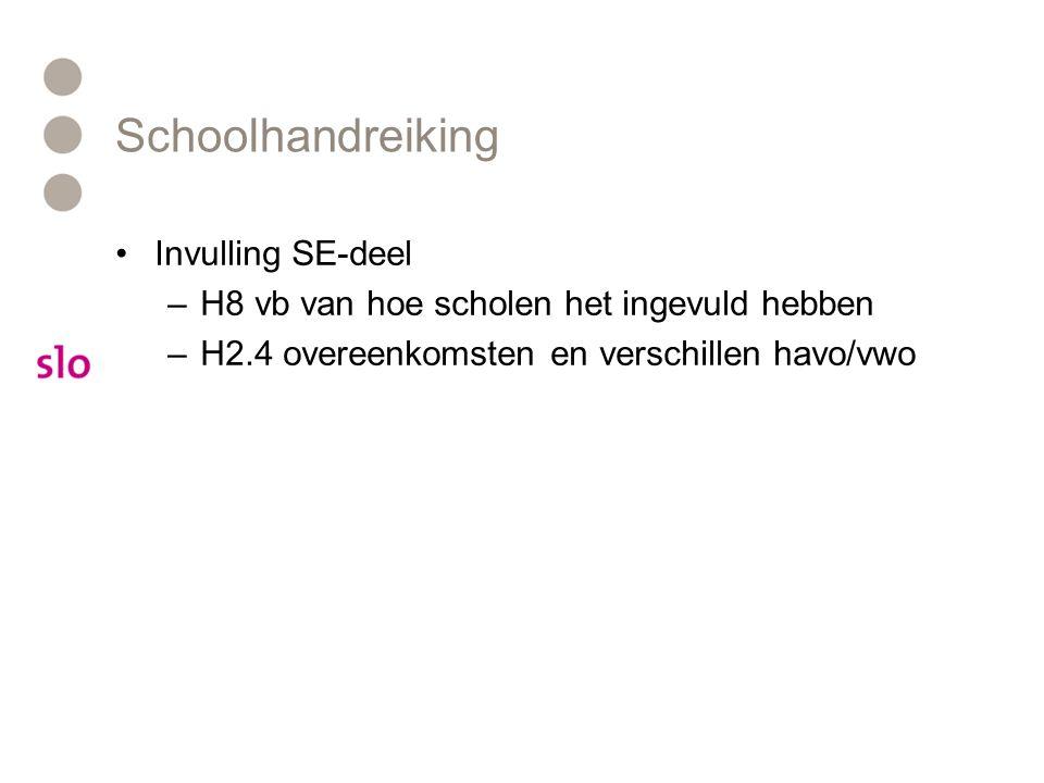 Schoolhandreiking Invulling SE-deel