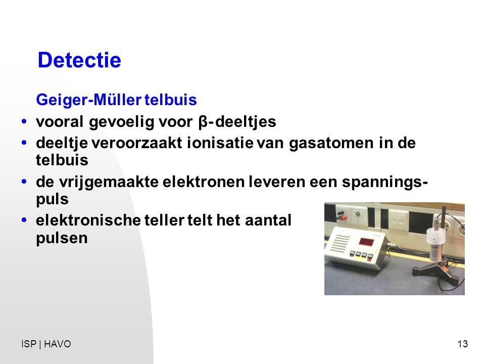 Detectie Geiger-Müller telbuis • vooral gevoelig voor β- deeltjes