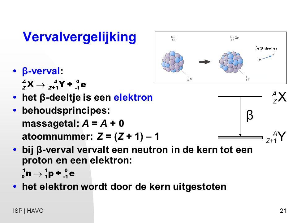 Vervalvergelijking X β Y • β-verval: • het β-deeltje is een elektron