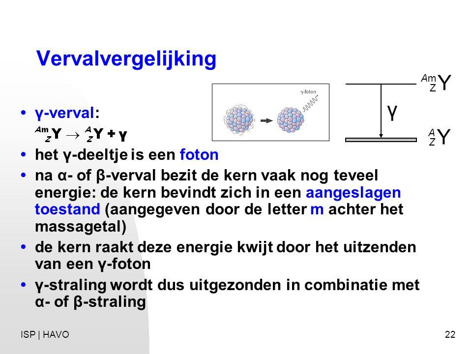Vervalvergelijking Y γ • γ-verval: • het γ-deeltje is een foton