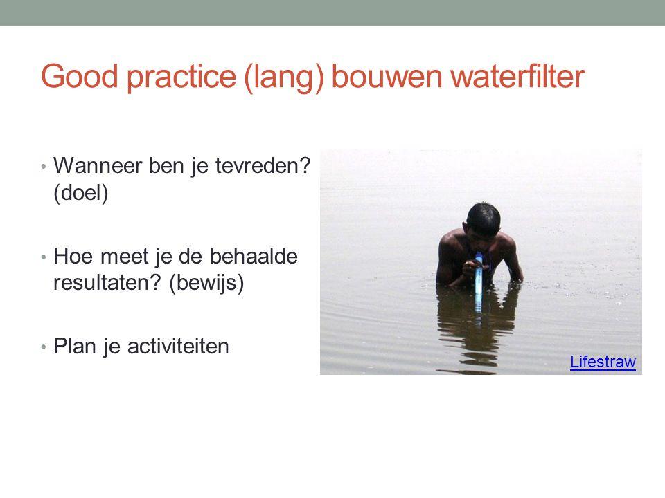 Good practice (lang) bouwen waterfilter