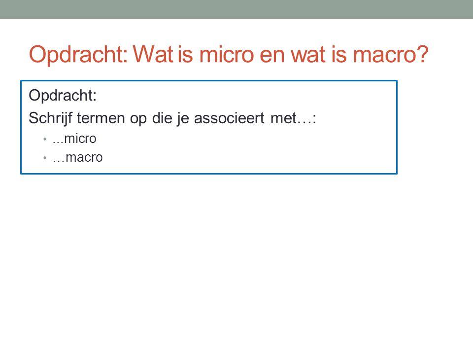 Opdracht: Wat is micro en wat is macro