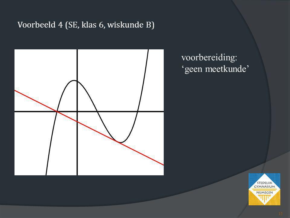 Voorbeeld 4 (SE, klas 6, wiskunde B)