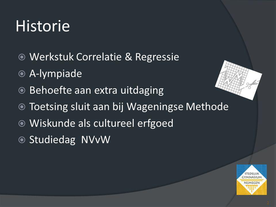 Historie Werkstuk Correlatie & Regressie A-lympiade