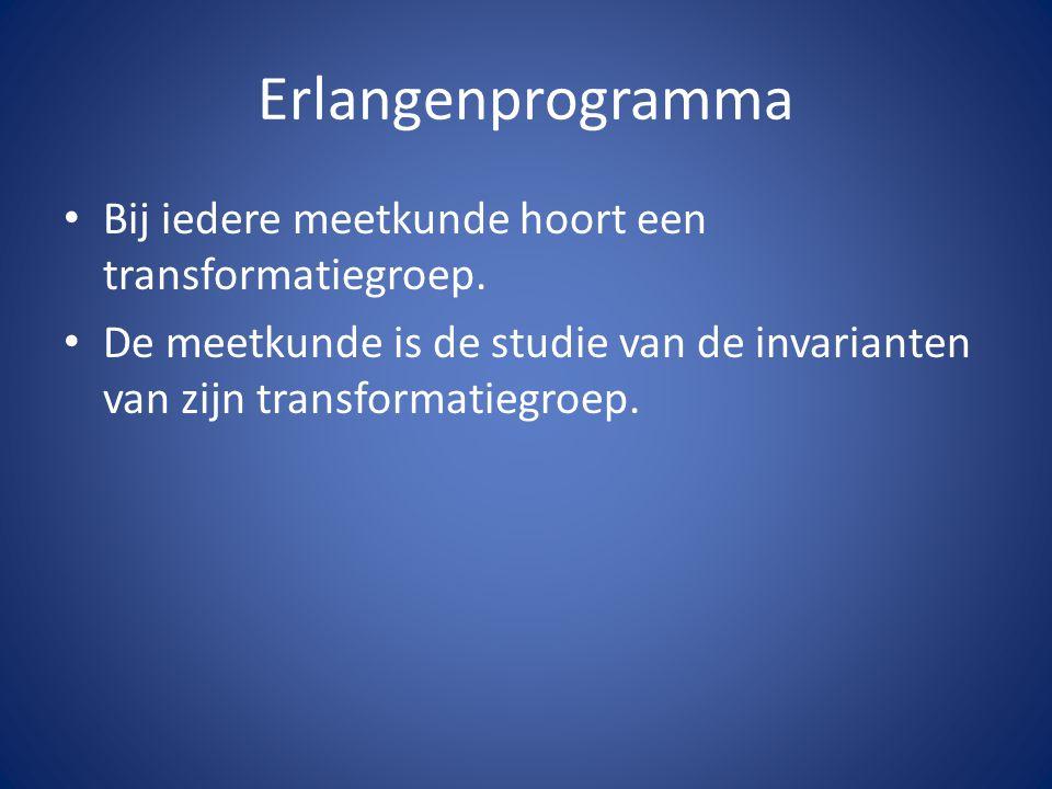 Erlangenprogramma Bij iedere meetkunde hoort een transformatiegroep.
