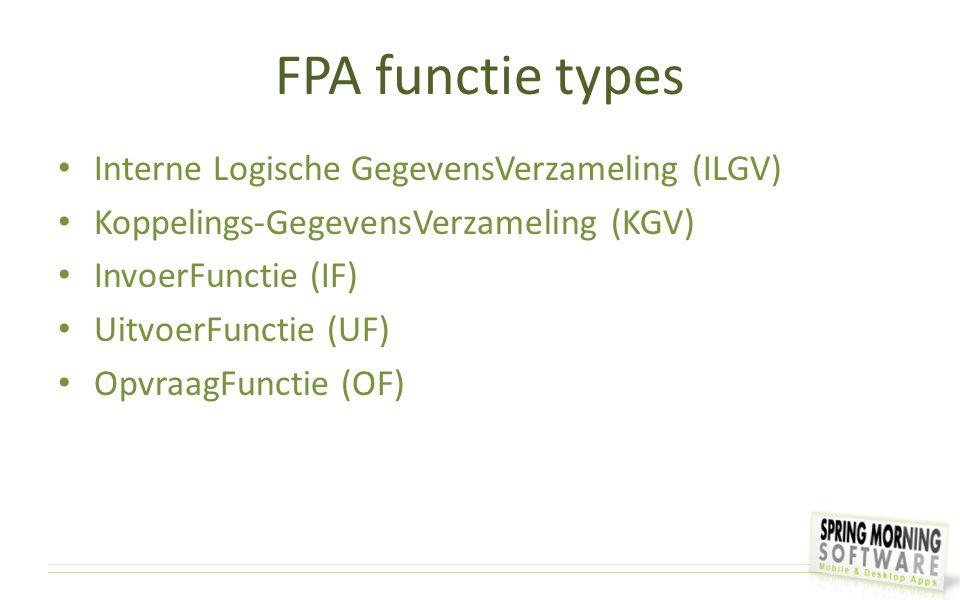 FPA functie types Interne Logische GegevensVerzameling (ILGV)