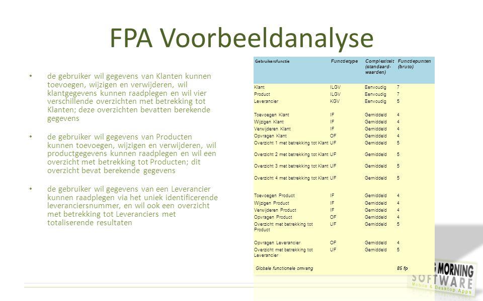 FPA Voorbeeldanalyse Gebruikersfunctie. Functietype. Complexiteit (standaard-waarden) Functiepunten (bruto)