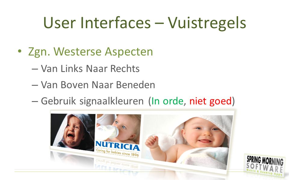 User Interfaces – Vuistregels