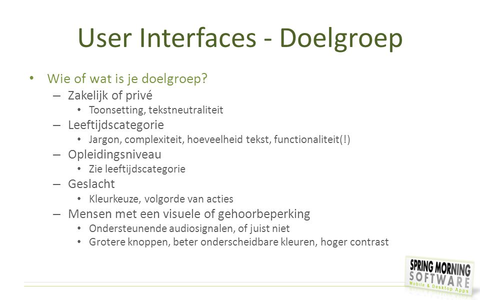 User Interfaces - Doelgroep