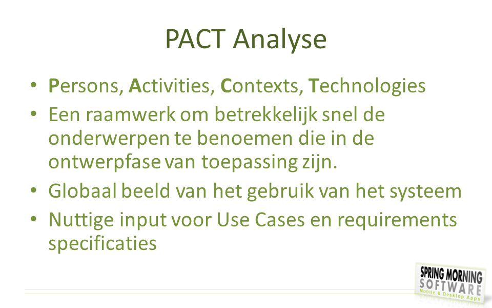 PACT Analyse Persons, Activities, Contexts, Technologies