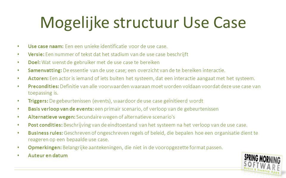Mogelijke structuur Use Case