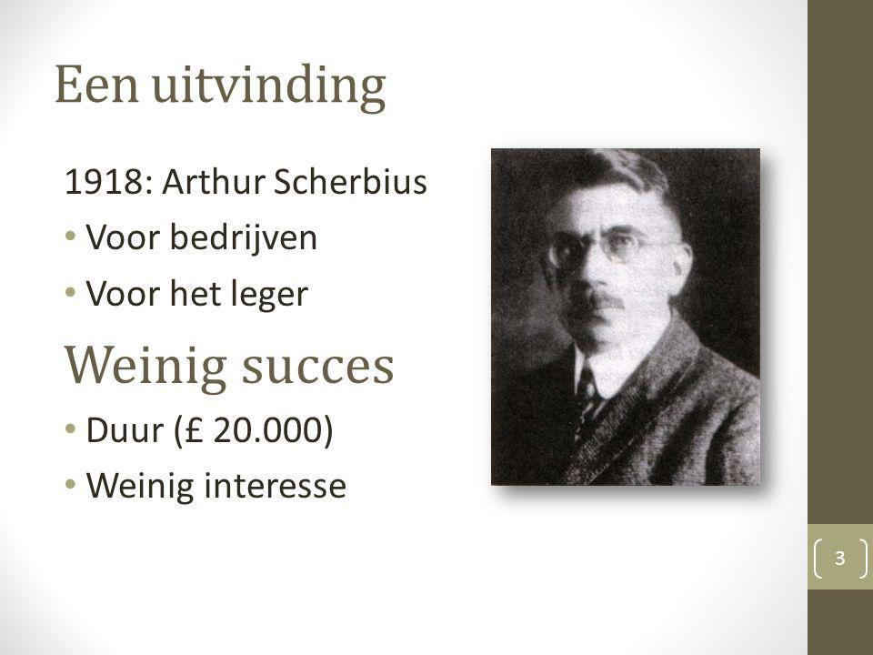 Een uitvinding Weinig succes 1918: Arthur Scherbius Voor bedrijven