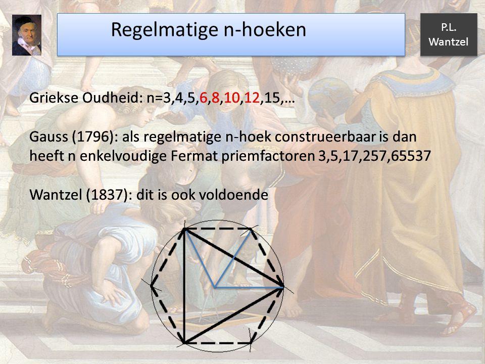Regelmatige n-hoeken Griekse Oudheid: n=3,4,5,6,8,10,12,15,…