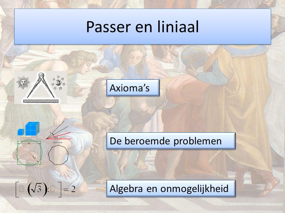 Passer en liniaal Axioma's De beroemde problemen