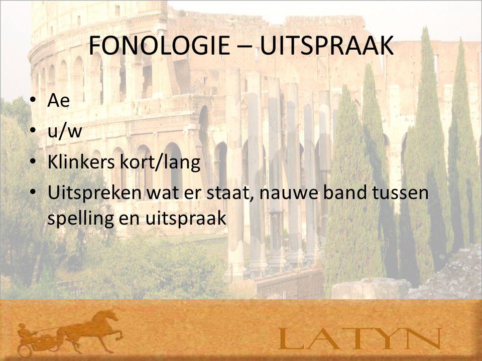 FONOLOGIE – UITSPRAAK Ae u/w Klinkers kort/lang