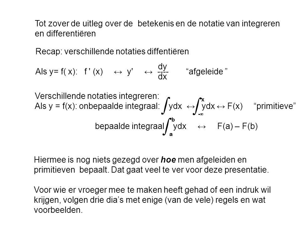 Tot zover de uitleg over de betekenis en de notatie van integreren en differentiëren