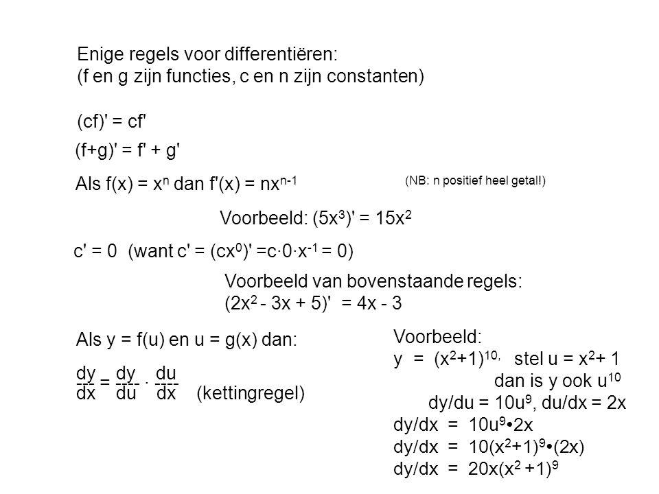 Enige regels voor differentiëren: