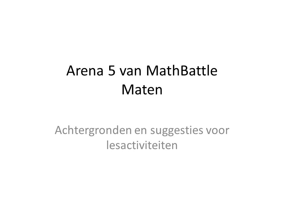 Arena 5 van MathBattle Maten