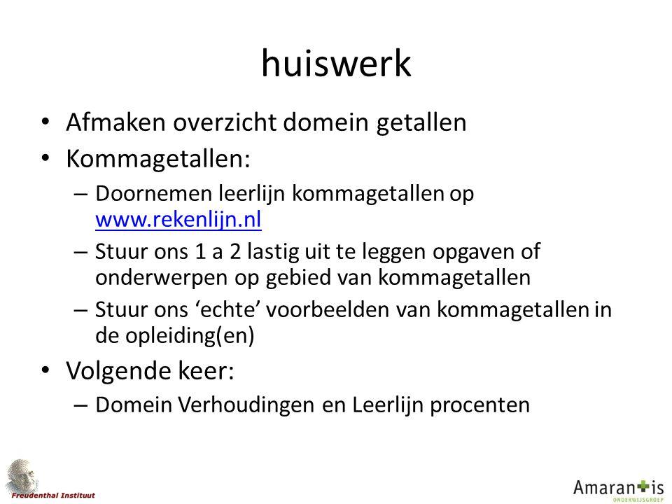 huiswerk Afmaken overzicht domein getallen Kommagetallen: