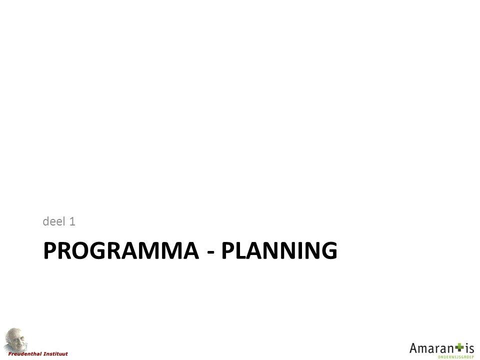 deel 1 programma - planning