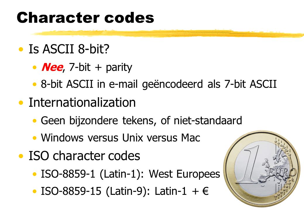 Character codes Is ASCII 8-bit Internationalization