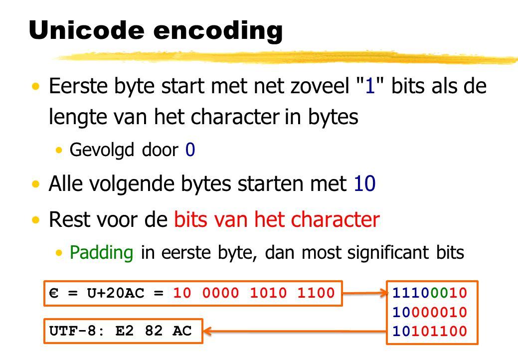 Unicode encoding Eerste byte start met net zoveel 1 bits als de lengte van het character in bytes.