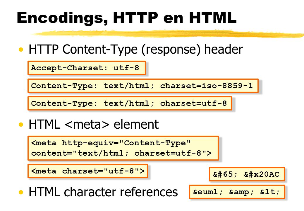 Encodings, HTTP en HTML HTTP Content-Type (response) header